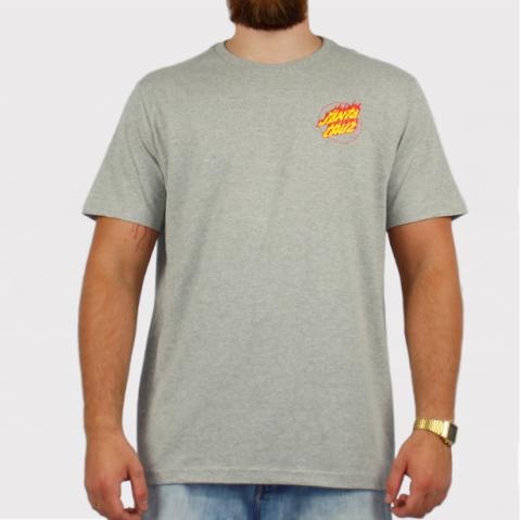 Camiseta Santa Cruz Flame Hand - Cinza Mescla