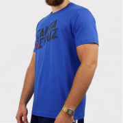 Camiseta Santa Cruz Hand Stamp - Azul Royal/Preto