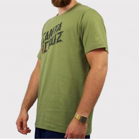 Camiseta Santa Cruz Hand Stamp - Verde Oliva/Preto