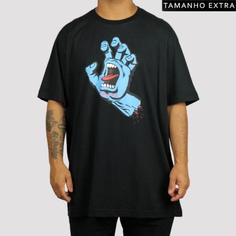 Camiseta Santa Cruz Screamig Hand (Tamanho Extra)  - Preto