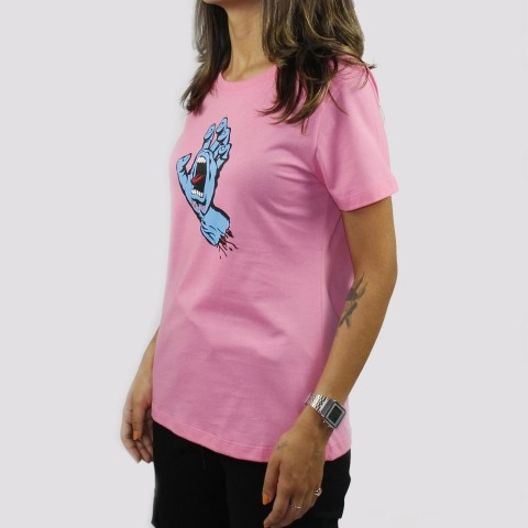Camiseta Santa Cruz Screaming Hand Feminina - Rosa