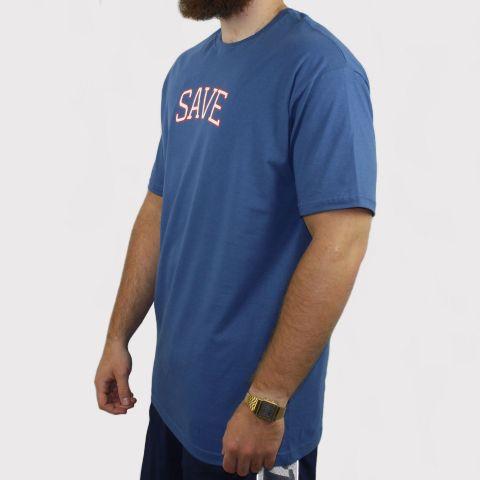 Camiseta Save GRL - Azul Petróleo/Branco