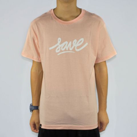 Camiseta Save Logo - Salmão/Branco