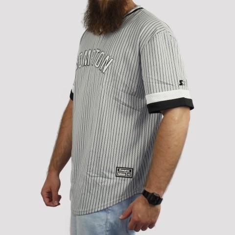 Camiseta Starter Listrada Compton - Cinza/Preta