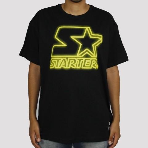 Camiseta Starter Logo Neon (Tamanho Extra) - Preto