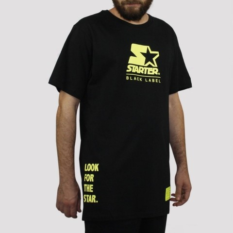 Camiseta Starter Logo Star Neon - Preto