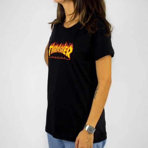 Camiseta Feminina Thrasher Flame Logo Preta