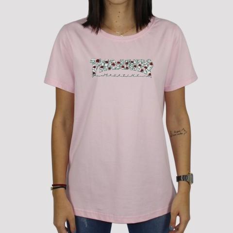 Camiseta Thrasher Feminina Roses - Rosa