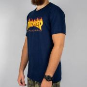 Camiseta Thrasher Flame Logo  - Azul Marinho