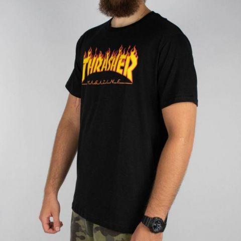 Camiseta Thrasher Flame Logo - Preta