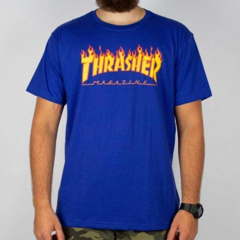 Camiseta Thrasher Flame Logo - Azul royal