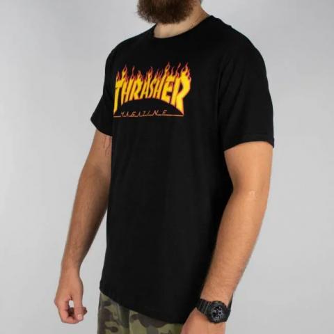 Camiseta Thrasher Flame Logo (Tamanho Extra) - Preto