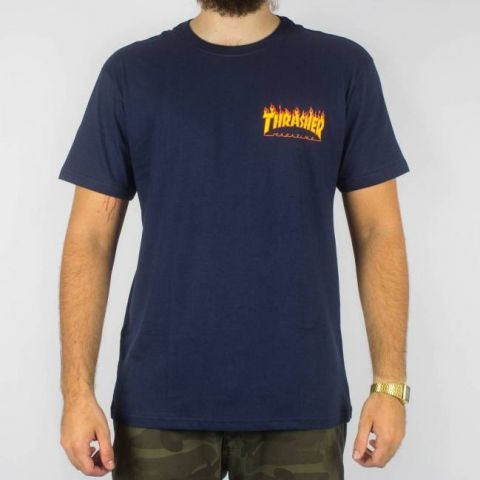 Camiseta Thrasher Mc Flame Bottom - Azul Marinho Escuro