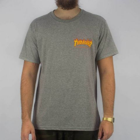 Camiseta Thrasher Mc Flame Bottow - Cinza Mescla