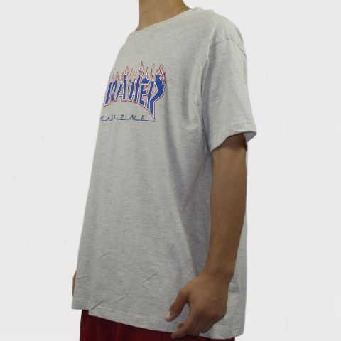 Camiseta Thrasher Patriot - Branco mescla