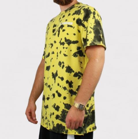 Camiseta Hocks wash Tie Dye - Amarelo/Preto