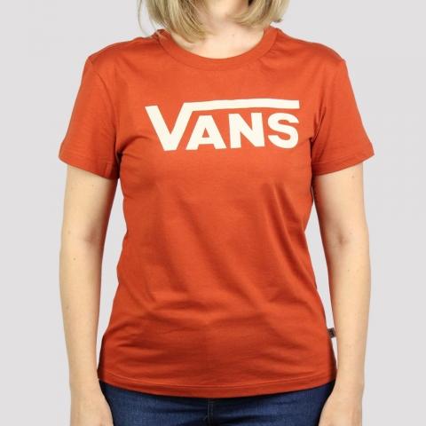 Camiseta Vans Feminina Flying V Crew - Picante/ Telha