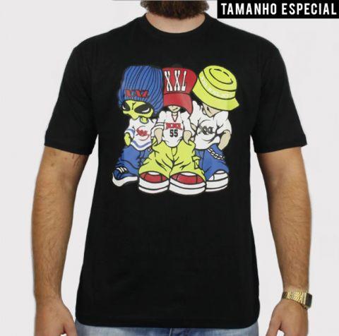 Camiseta XXL Allien - Preta (Tamanho especial)