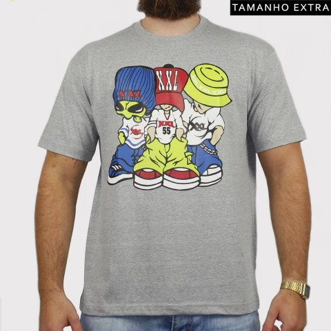 Camiseta XXL Allien (Tamanho Extra) - Cinza