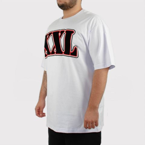 Camiseta XXL Branca Veludo Logo - Preto/Vermelho (Tamanho Especial)