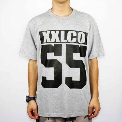 Camiseta XXL Logo CO 55 - Cinza Clara/Preto