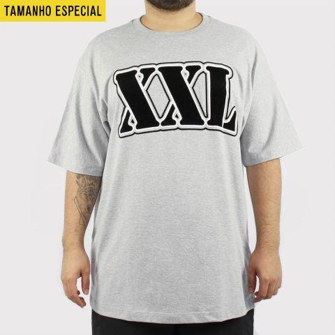 Camiseta XXL Logo Preto/Branca/Cinza Claro (Tamanho Especial)