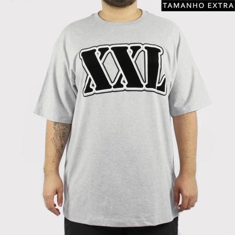Camiseta XXL Logo (Tamanho Extra) - Preto/Branca/Cinza Claro
