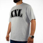 Camiseta XXL Logo Veludo Cinza Mescla (Tamanho Especial)