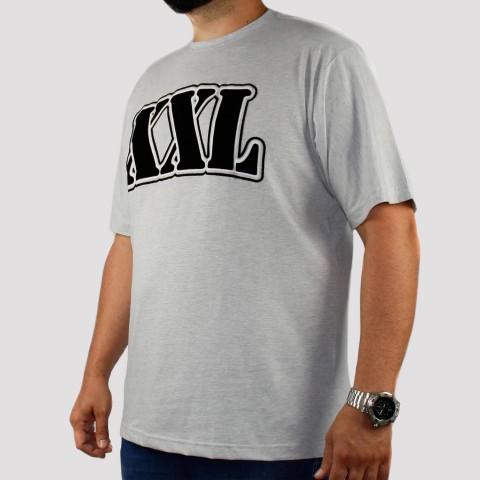 Camiseta XXL Logo Veludo (Tamanho Extra) - Cinza Mescla