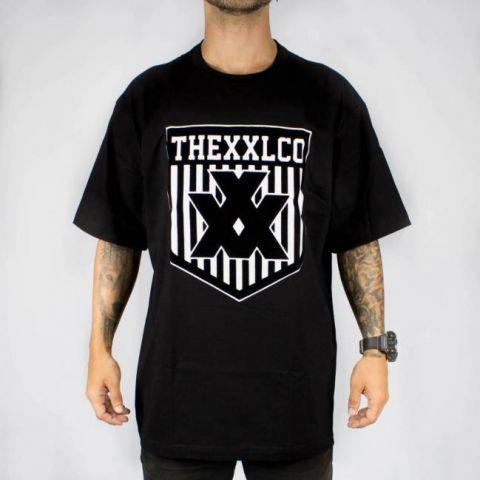 Camiseta XXL Logo Veludo - Preto/Branco