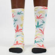 Meia Cannabis Colorida Of White/Branca