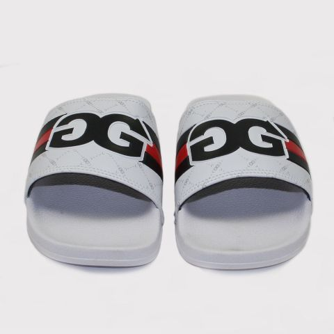 Chinelo Double G Slide - Branco/Preto/Vermelho