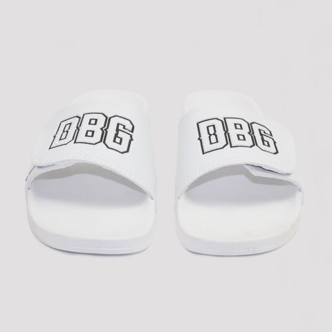 Chinelo Double G Slide Velcro - Branco/ Preto