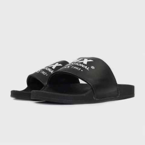 Chinelo Qix International Slide - Preto/Branco