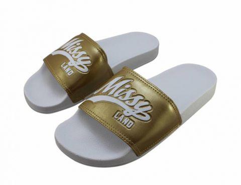 Chinelo Qix Missy Slide - Branco/Dourado