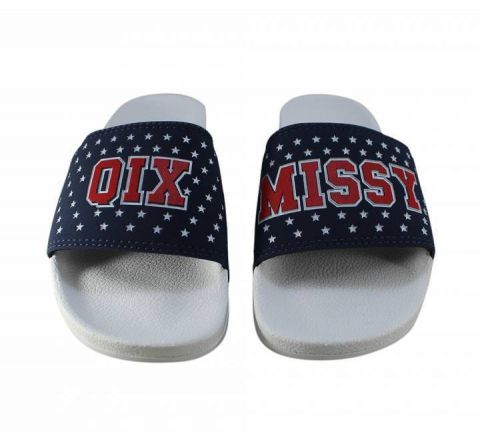 Chinelo Qix Missy Slide - Branco/Marinho Estrelado