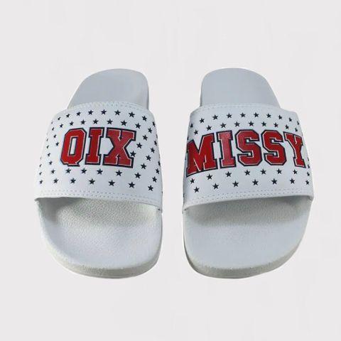 Chinelo Qix Missy Slide - Branco/Vermelho