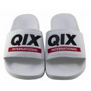 Chinelo Qix Slide Branco Logo Preto/Vermelho