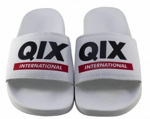 Chinelo Qix Logo Slide - Branco/Preto/Vermelho
