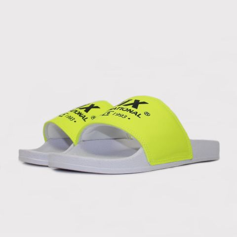 Chinelo Qix Slide - Branco/Verde florescente