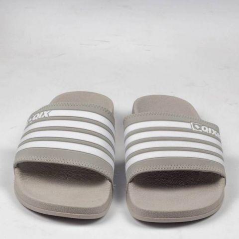 Chinelo Qix Listrado Slide - Cinza/Branco