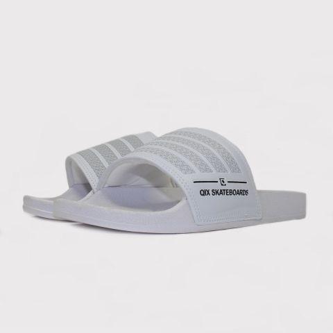 Chinelo Qix Listrado Slide - Cinza claro/Branco