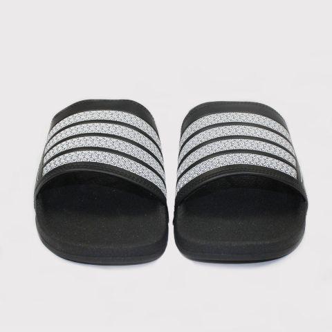Chinelo Qix Listrado Slide - Preto/Branco