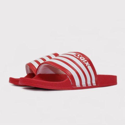Chinelo Qix Slide Listrado - Vermelho/Branco