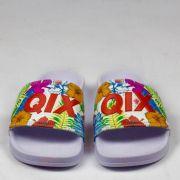 Chinelo Qix Slide Logo Floral Branco