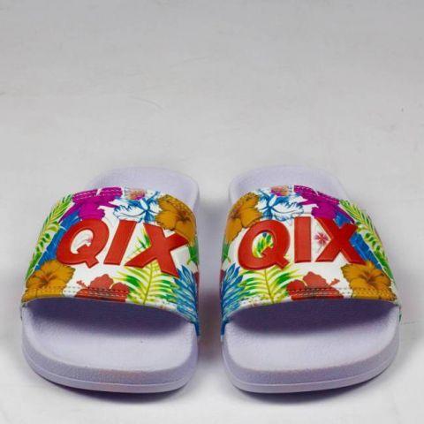 Chinelo Qix Logo Slide - Floral/Branco
