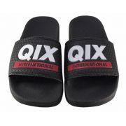 Chinelo Qix Slide Preto Logo Branco/Vermelho