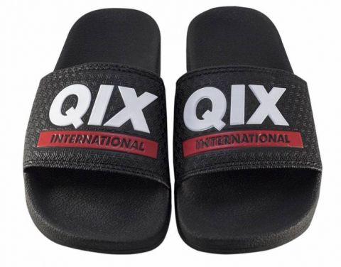 Chinelo Qix Logo Slide - Preto/Branco/Vermelho