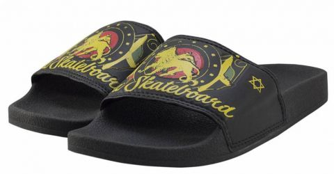 Chinelo Qix Roots Slide - Preto/Amarelo