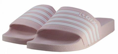 Chinelo Qix Listrado Slide - Rosa/Branco